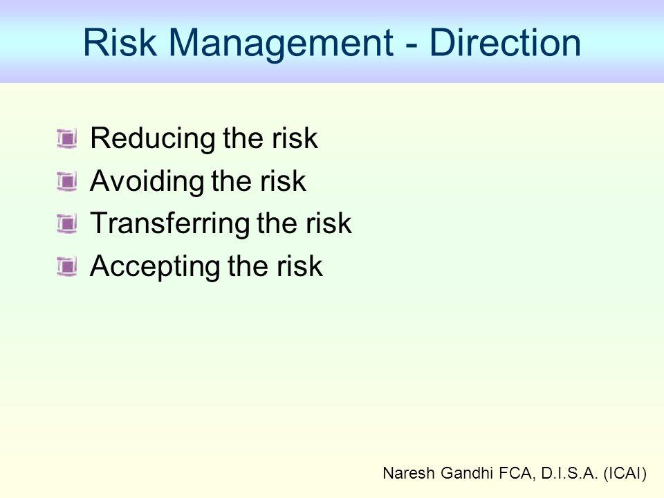 Naresh Gandhi FCA, D.I.S.A. (ICAI) Risk Management - Direction Reducing the risk Avoiding the risk Transferring the risk Accepting the risk