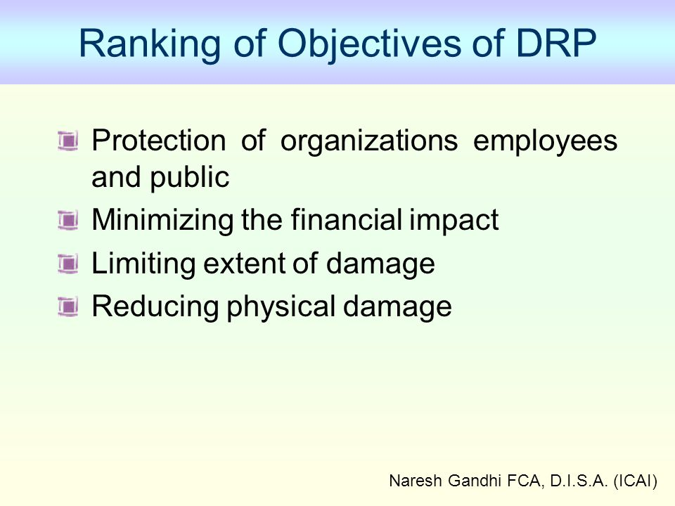 Naresh Gandhi FCA, D.I.S.A. (ICAI) Ranking of Objectives of DRP Protection of organizations employees and public Minimizing the financial impact Limit