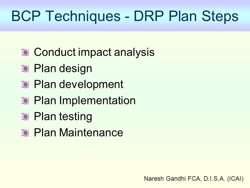 Naresh Gandhi FCA, D.I.S.A. (ICAI) BCP Techniques - DRP Plan Steps Conduct impact analysis Plan design Plan development Plan Implementation Plan testi
