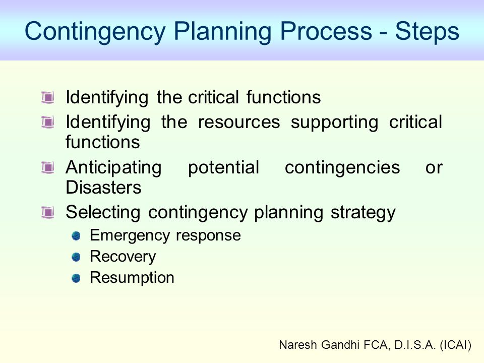 Naresh Gandhi FCA, D.I.S.A. (ICAI) Contingency Planning Process - Steps Identifying the critical functions Identifying the resources supporting critic