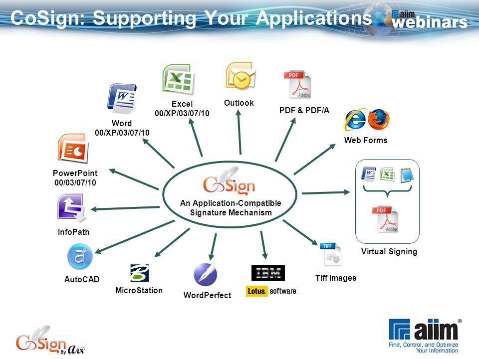 CoSign: Supporting Your Applications PowerPoint 00/03/07/10 Tiff Images PDF & PDF/A Outlook Excel 00/XP/03/07/10 Word 00/XP/03/07/10 AutoCAD WordPerfect InfoPath Virtual Signing Web Forms An Application-Compatible Signature Mechanism MicroStation