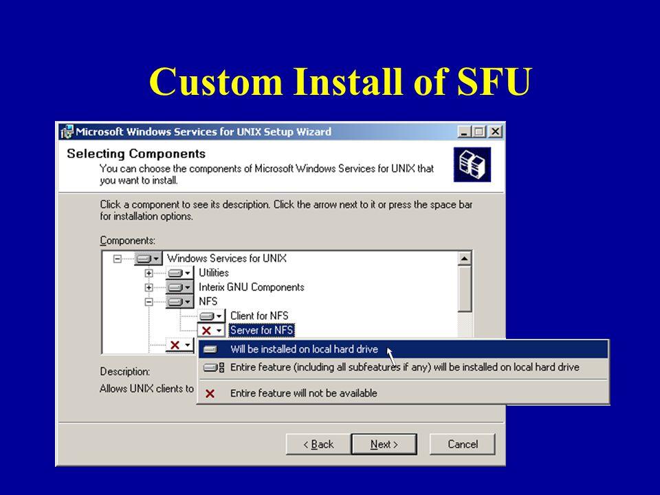 Custom Install of SFU