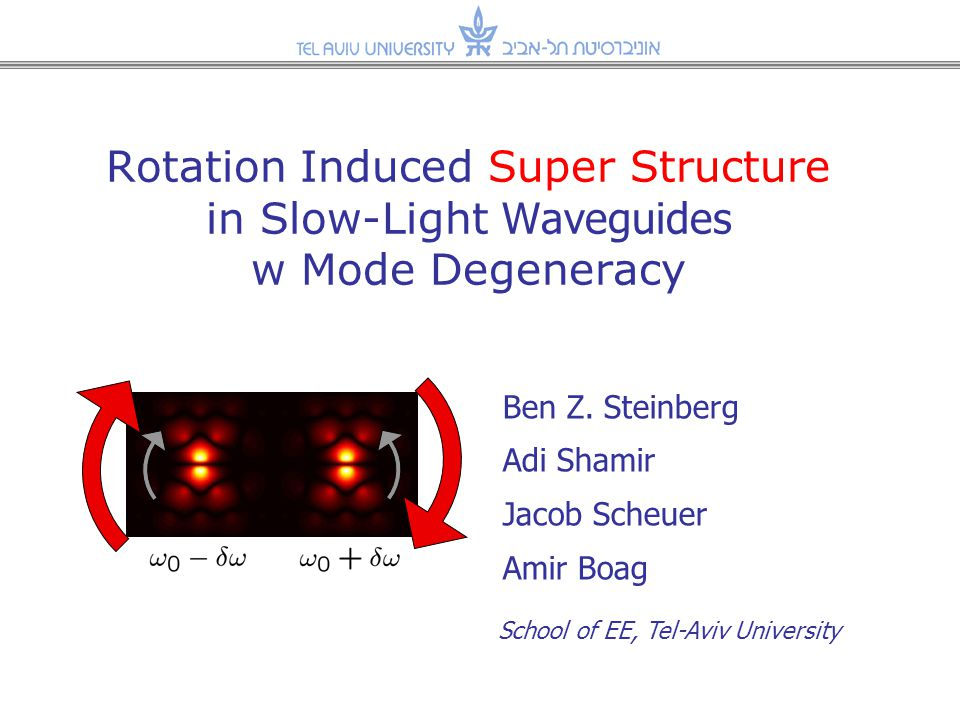 Presentation Overview The effect of mechanical rotation on Slow-Light Structures –Previous studies: [1] Array of weakly coupled conventional resonators New manifestation of Sagnac Effect Present work: –What happens if the micro-resonators support mode-degeneracy .