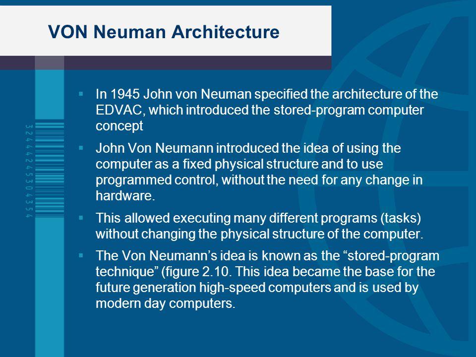 VON Neuman Architecture In 1945 John von Neuman specified the architecture of the EDVAC, which introduced the stored-program computer concept John Von