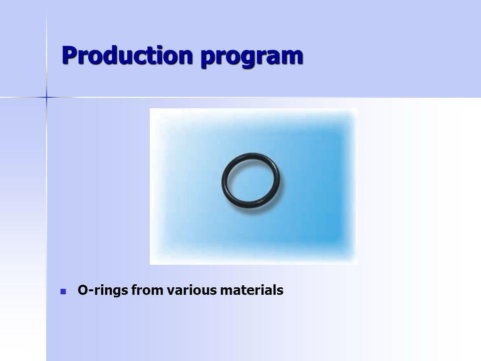 Production program O-rings from various materials