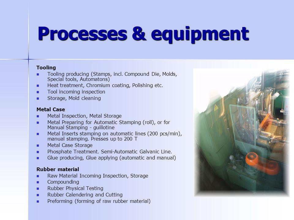 Processes & equipment Tooling Tooling producing (Stamps, incl. Compound Die, Molds, Special tools, Automatons) Heat treatment, Chromium coating, Polis