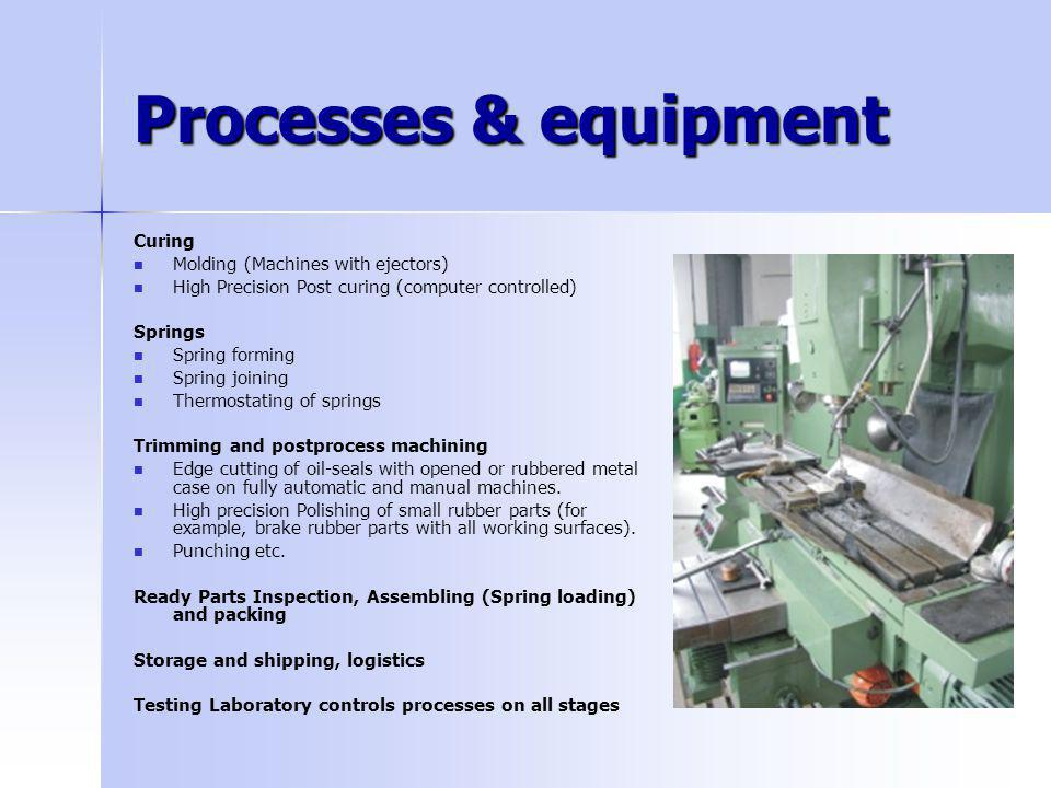 Processes & equipment Curing Molding (Machines with ejectors) High Precision Post curing (computer controlled) Springs Spring forming Spring joining T