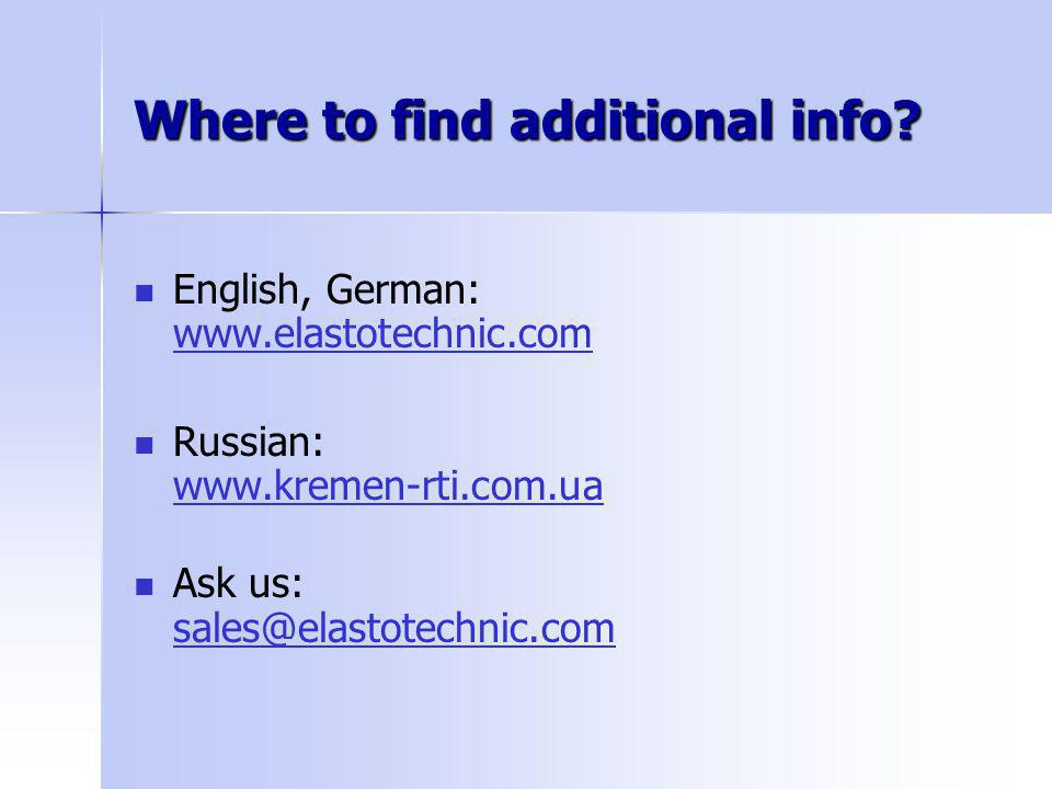 Where to find additional info.