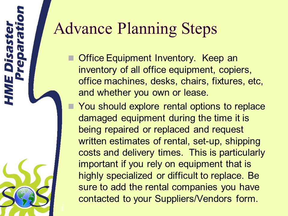 Advance Planning Steps Office Equipment Inventory.