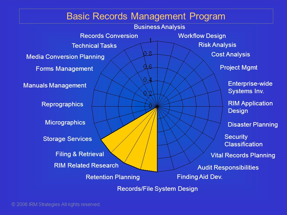 Records Conversion Forms Management RIM Related Research Security Classification Retention Planning Records/File System Design Media Conversion Planning Finding Aid Dev.