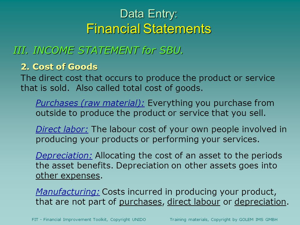 FIT - Financial Improvement Toolkit, Copyright UNIDO Training materials, Copyright by GOLEM IMS GMBH Data Entry: Financial Statements 2.
