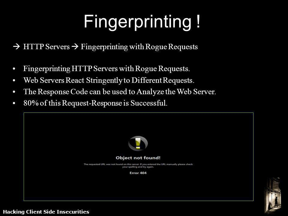 Hacking Client Side Insecurities HTTP Servers Fingerprinting with Rogue Requests Fingerprinting HTTP Servers with Rogue Requests. Web Servers React St