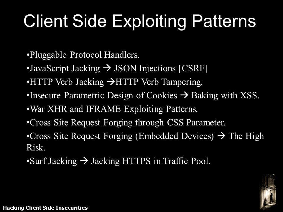 Hacking Client Side Insecurities Client Side Exploiting Patterns Pluggable Protocol Handlers. JavaScript Jacking JSON Injections [CSRF] HTTP Verb Jack
