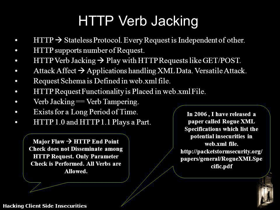 Hacking Client Side Insecurities HTTP Verb Jacking HTTP Stateless Protocol. Every Request is Independent of other. HTTP supports number of Request. HT