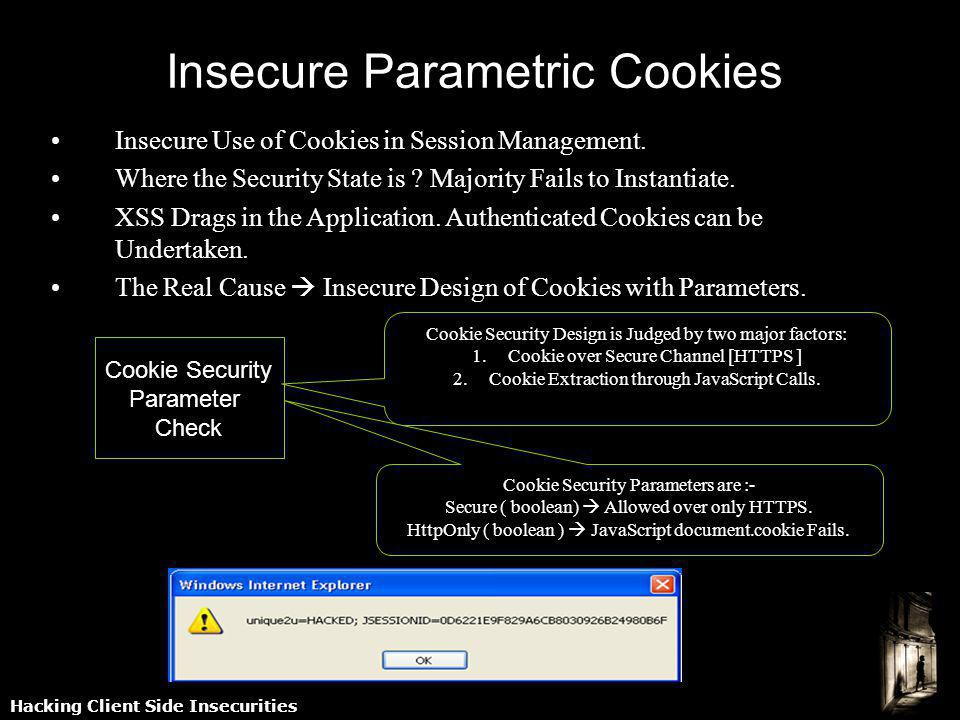 Hacking Client Side Insecurities Insecure Parametric Cookies Insecure Use of Cookies in Session Management. Where the Security State is ? Majority Fai
