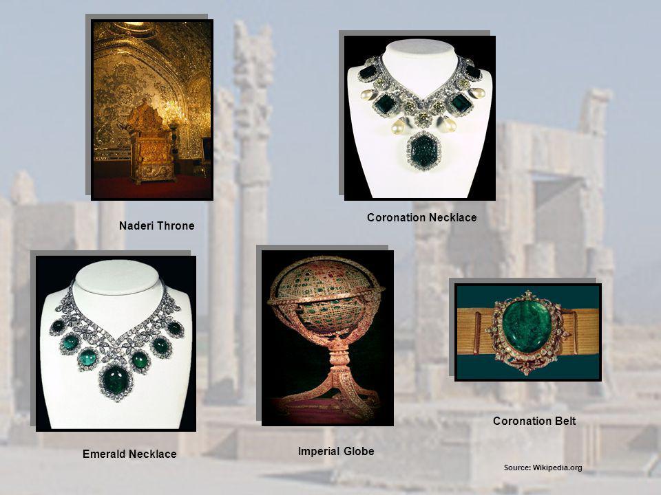Naderi Throne Coronation Necklace Emerald Necklace Imperial Globe Coronation Belt Source: Wikipedia.org