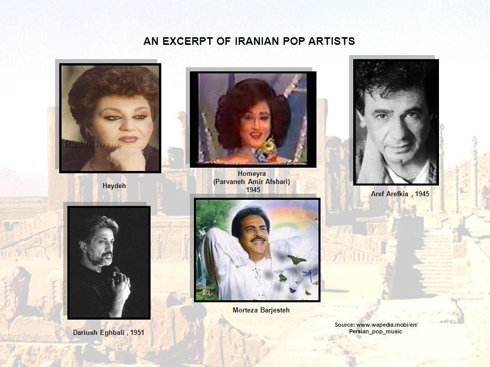 Homeyra (Parvaneh Amir Afshari) 1945 Aref Arefkia, 1945 Dariush Eghbali, 1951 Source: www.wapedia.mobi/en/ Persian_pop_music AN EXCERPT OF IRANIAN POP