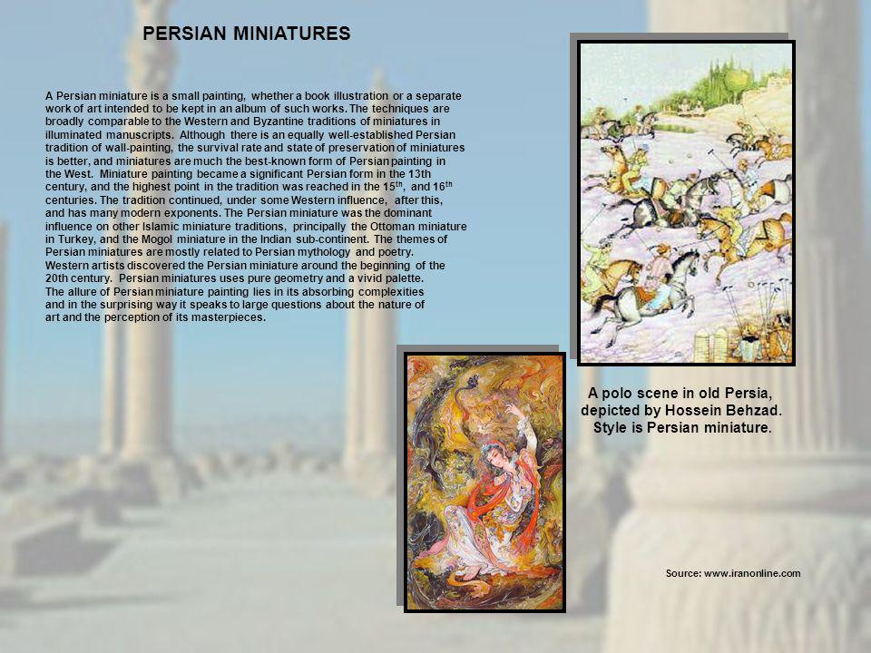 A Persian miniature is a small painting, whether a book illustration or a separate work of art intended to be kept in an album of such works. The tech