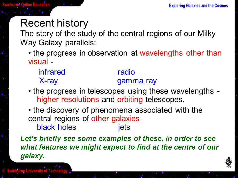 Recent history The story of the study of the central regions of our Milky Way Galaxy parallels: the progress in observation at wavelengths other than