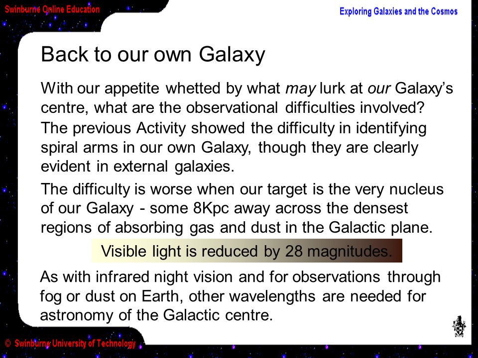 Back to our own Galaxy With our appetite whetted by what may lurk at our Galaxys centre, what are the observational difficulties involved? The previou