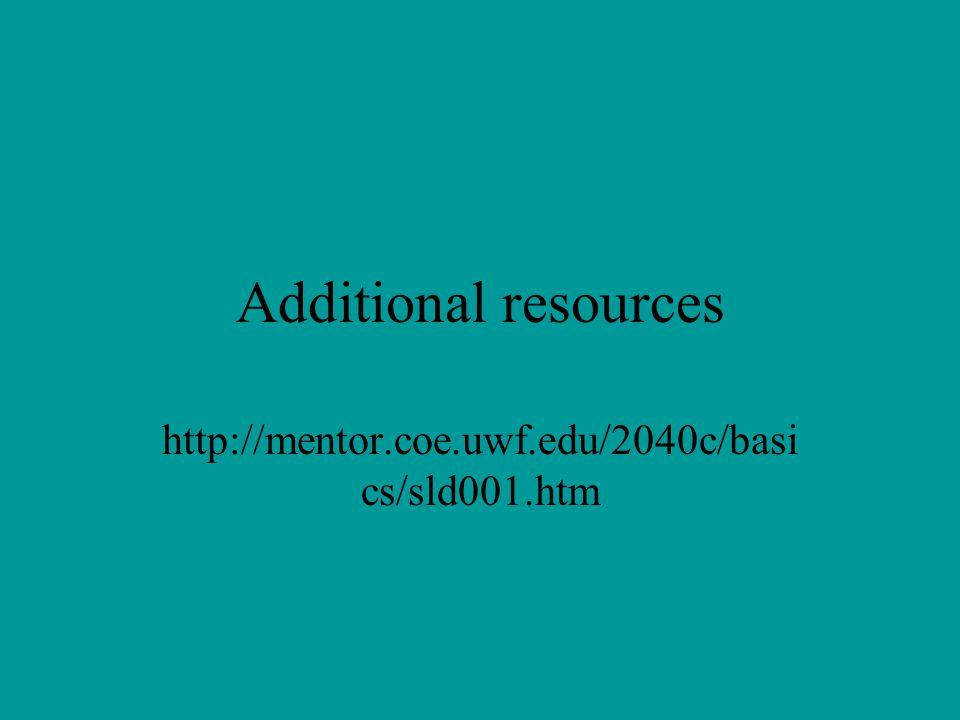 Additional resources http://mentor.coe.uwf.edu/2040c/basi cs/sld001.htm