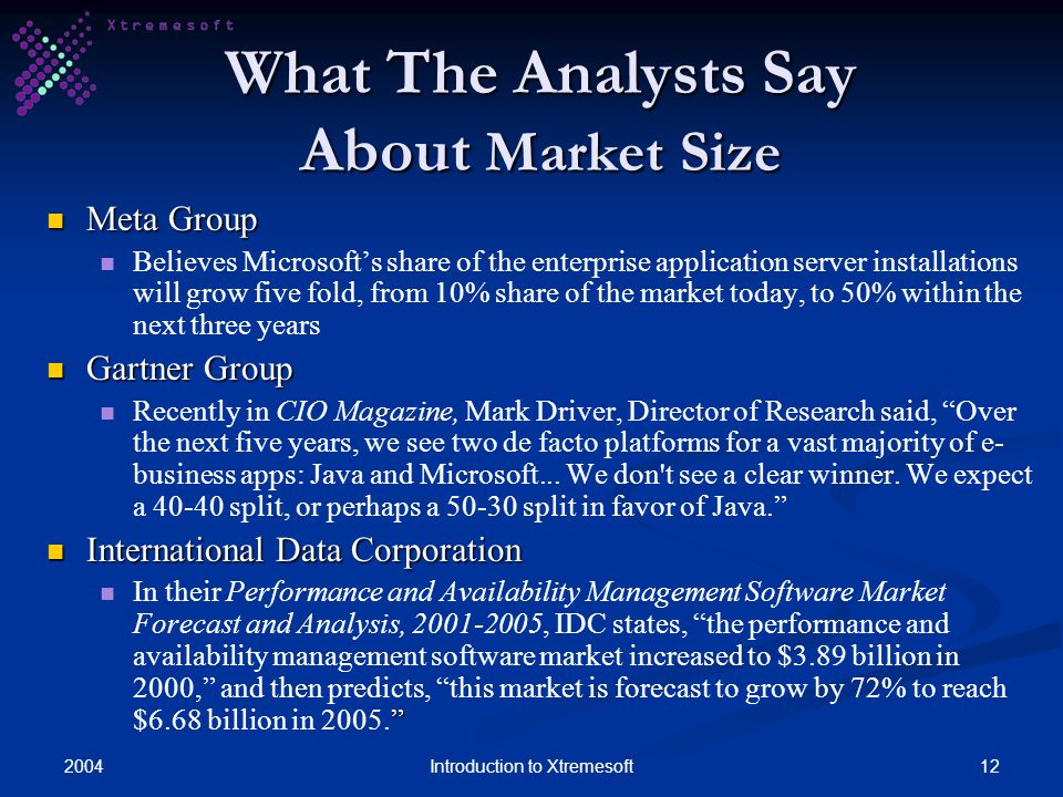 200412Introduction to Xtremesoft What The Analysts Say About Market Size Meta Group Meta Group Believes Microsofts share of the enterprise application