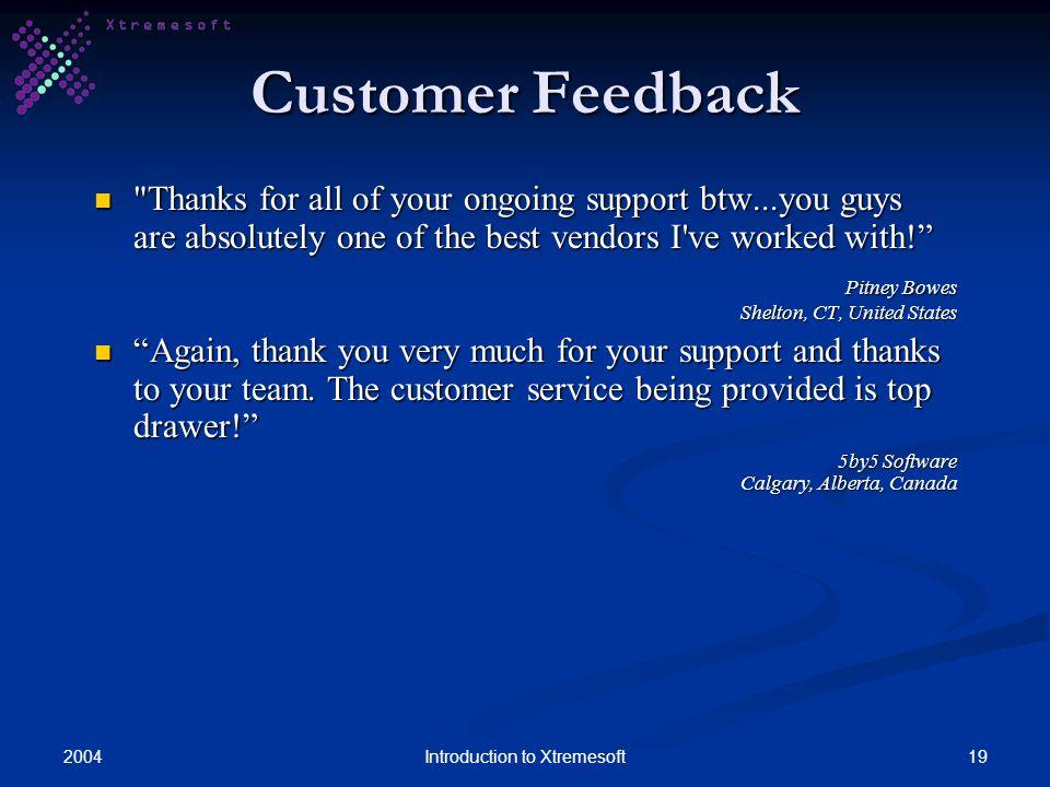 200419Introduction to Xtremesoft Customer Feedback