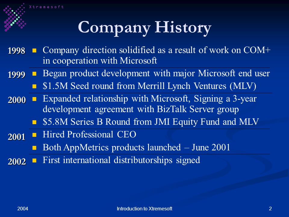 20042Introduction to Xtremesoft Company History 1998 Company direction solidified as a result of work on COM+ in cooperation with Microsoft Began product development with major Microsoft end user $1.5M Seed round from Merrill Lynch Ventures (MLV) Expanded relationship with Microsoft, Signing a 3-year development agreement with BizTalk Server group $5.8M Series B Round from JMI Equity Fund and MLV Hired Professional CEO Both AppMetrics products launched – June 2001 First international distributorships signed