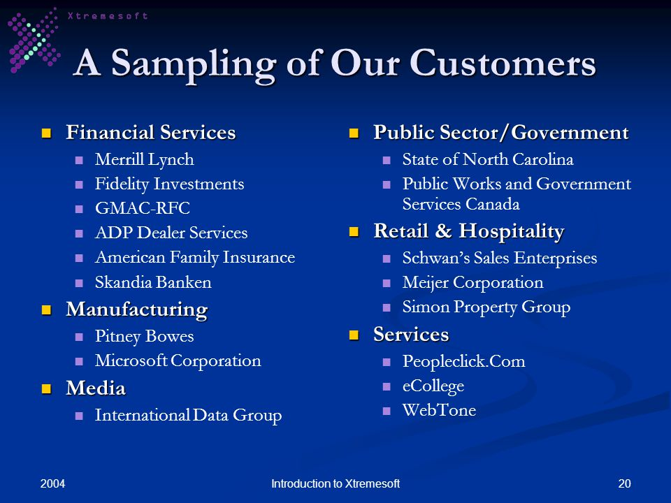 200420Introduction to Xtremesoft A Sampling of Our Customers Financial Services Financial Services Merrill Lynch Fidelity Investments GMAC-RFC ADP Dealer Services American Family Insurance Skandia Banken Manufacturing Manufacturing Pitney Bowes Microsoft Corporation Media Media International Data Group Public Sector/Government State of North Carolina Public Works and Government Services Canada Retail & Hospitality Schwans Sales Enterprises Meijer Corporation Simon Property Group Services Peopleclick.Com eCollege WebTone