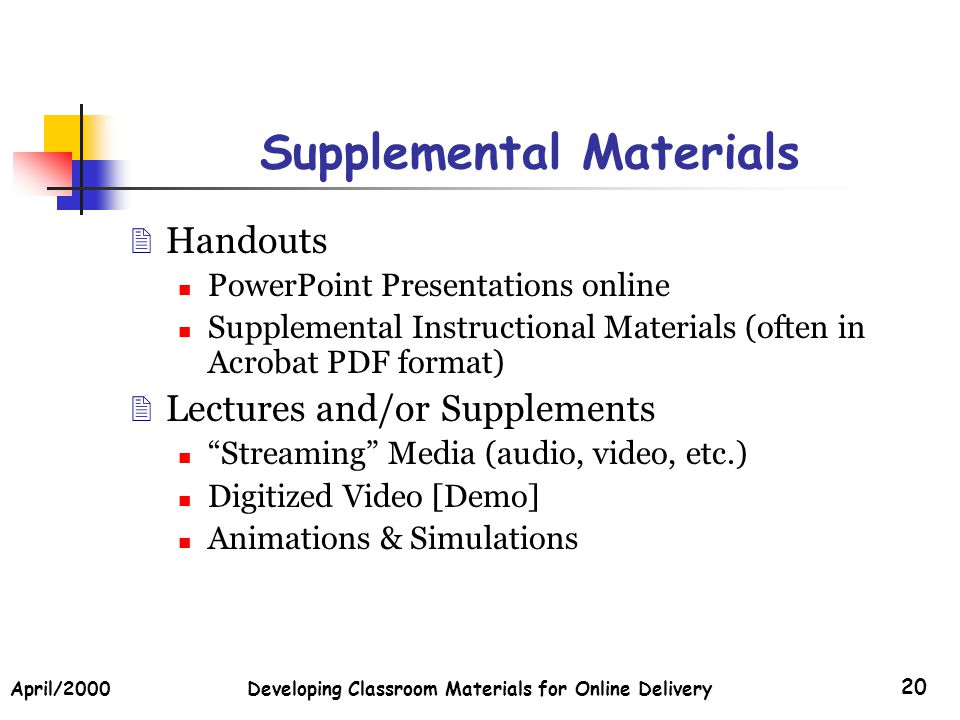 April/2000Developing Classroom Materials for Online Delivery 20 Supplemental Materials Handouts PowerPoint Presentations online Supplemental Instructional Materials (often in Acrobat PDF format) Lectures and/or Supplements Streaming Media (audio, video, etc.) Digitized Video [Demo] Animations & Simulations