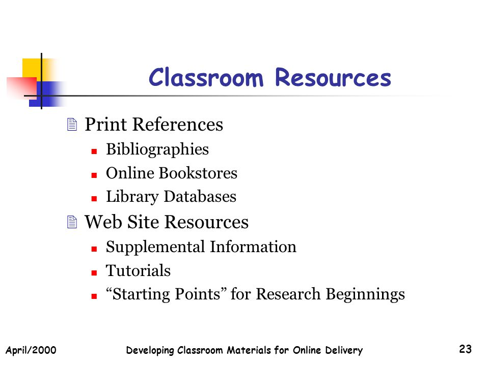April/2000Developing Classroom Materials for Online Delivery 23 Classroom Resources Print References Bibliographies Online Bookstores Library Database