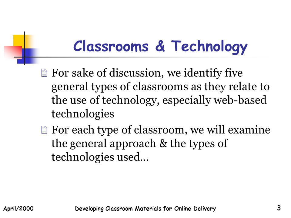 April/2000Developing Classroom Materials for Online Delivery 14 Scenario #5 (Contd) Technologies: Online Delivery Systems Online Communications, Testing, Materials Delivery, etc.