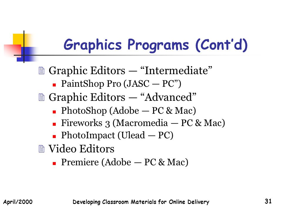April/2000Developing Classroom Materials for Online Delivery 31 Graphics Programs (Contd) Graphic Editors Intermediate PaintShop Pro (JASC PC) Graphic Editors Advanced PhotoShop (Adobe PC & Mac) Fireworks 3 (Macromedia PC & Mac) PhotoImpact (Ulead PC) Video Editors Premiere (Adobe PC & Mac)