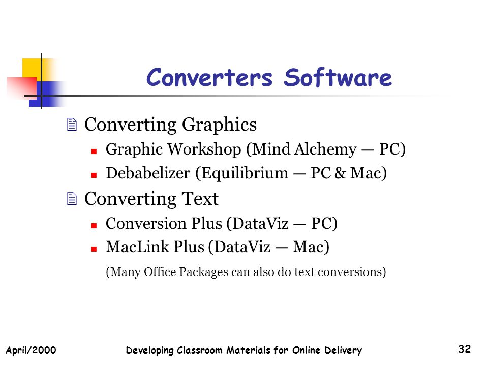 April/2000Developing Classroom Materials for Online Delivery 32 Converters Software Converting Graphics Graphic Workshop (Mind Alchemy PC) Debabelizer (Equilibrium PC & Mac) Converting Text Conversion Plus (DataViz PC) MacLink Plus (DataViz Mac) (Many Office Packages can also do text conversions)