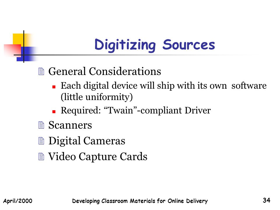 April/2000Developing Classroom Materials for Online Delivery 34 Digitizing Sources General Considerations Each digital device will ship with its own s