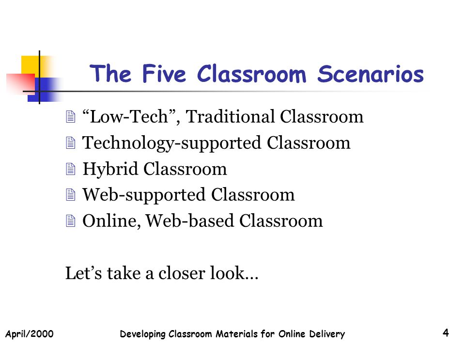 April/2000Developing Classroom Materials for Online Delivery 35 Other Check back for more…