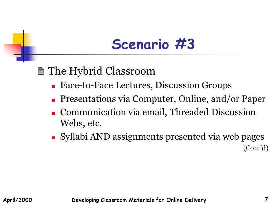 April/2000Developing Classroom Materials for Online Delivery 7 Scenario #3 The Hybrid Classroom Face-to-Face Lectures, Discussion Groups Presentations via Computer, Online, and/or Paper Communication via email, Threaded Discussion Webs, etc.