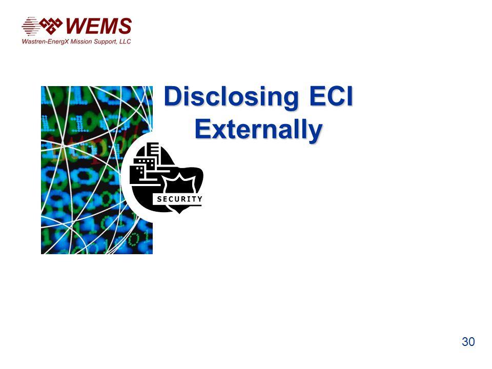 Disclosing ECI Externally 30