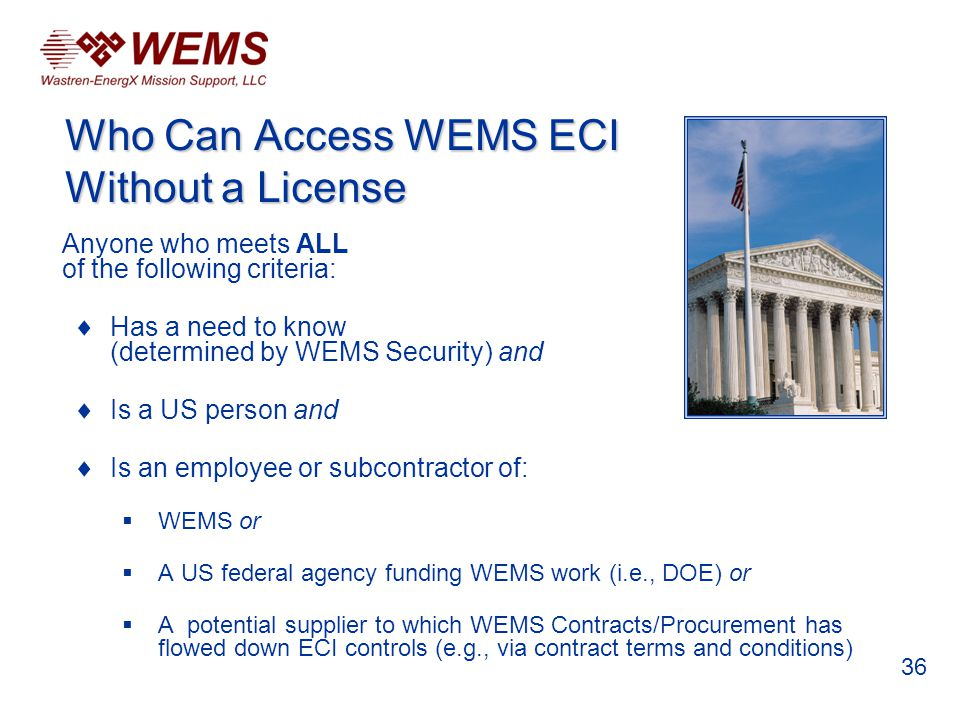 Anyone who meets ALL of the following criteria: Has a need to know (determined by WEMS Security) and Is a US person and Is an employee or subcontracto