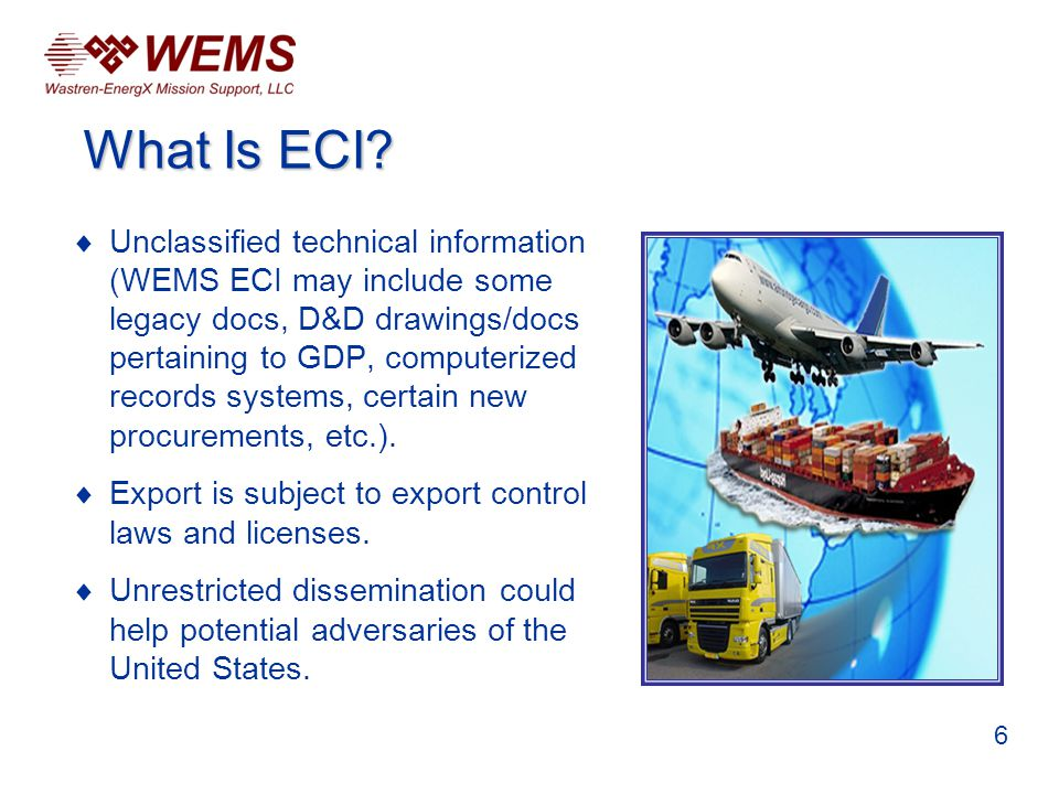 Ensure that all ECI removable media are marked with the words EXPORT CONTROLLED INFORMATION.