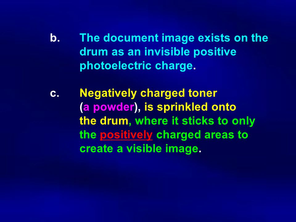 b. The document image exists on the drum as an invisible positive photoelectric charge. c. Negatively charged toner (a powder), is sprinkled onto the