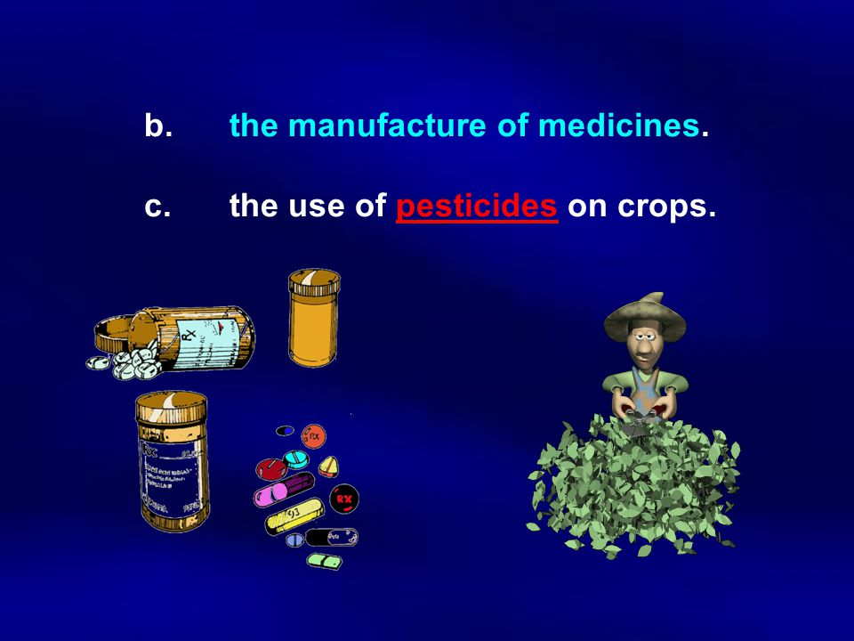 b.the manufacture of medicines. c.the use of pesticides on crops.