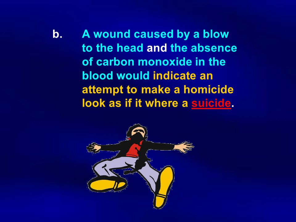 b.A wound caused by a blow to the head and the absence of carbon monoxide in the blood would indicate an attempt to make a homicide look as if it wher