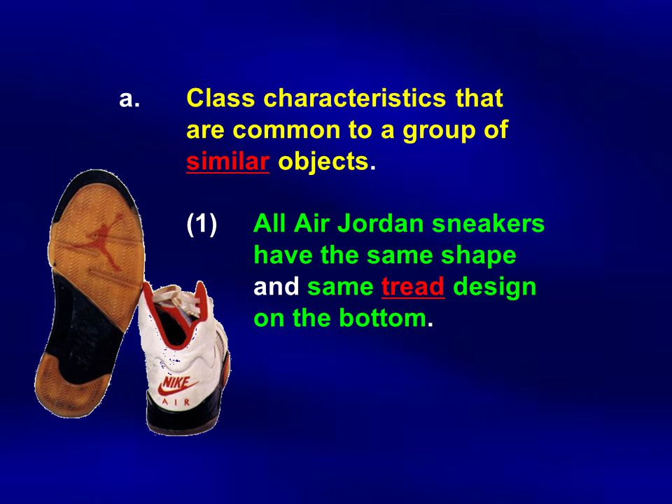a. Class characteristics that are common to a group of similar objects. (1)All Air Jordan sneakers have the same shape and same tread design on the bo