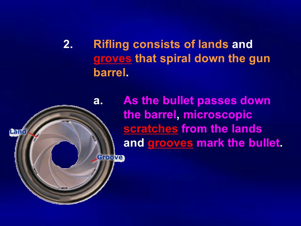 2.Rifling consists of lands and groves that spiral down the gun barrel. a.As the bullet passes down the barrel, microscopic scratches from the lands a