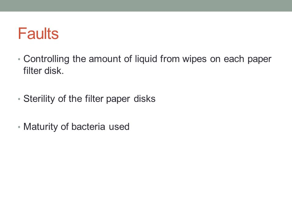 Faults Controlling the amount of liquid from wipes on each paper filter disk.