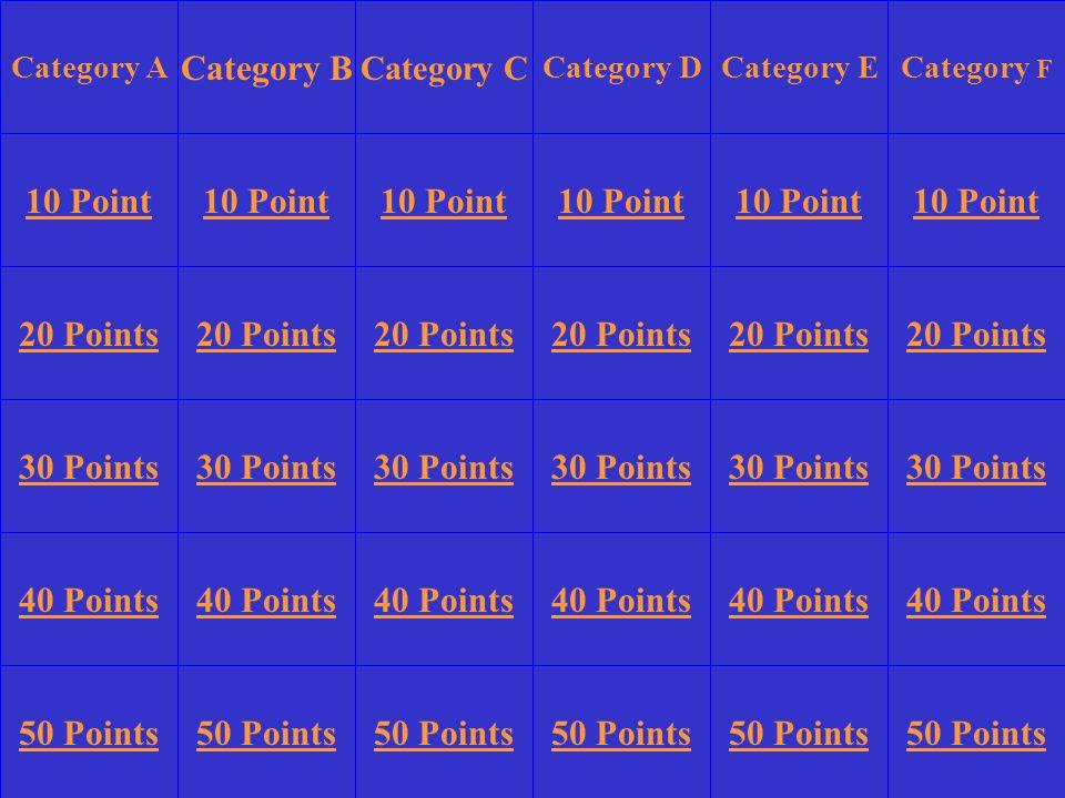 Category A Category B Category DCategory ECategory F 10 Point 20 Points 30 Points 40 Points 50 Points 10 Point 20 Points 30 Points 40 Points 50 Points 30 Points 40 Points 50 Points Category C