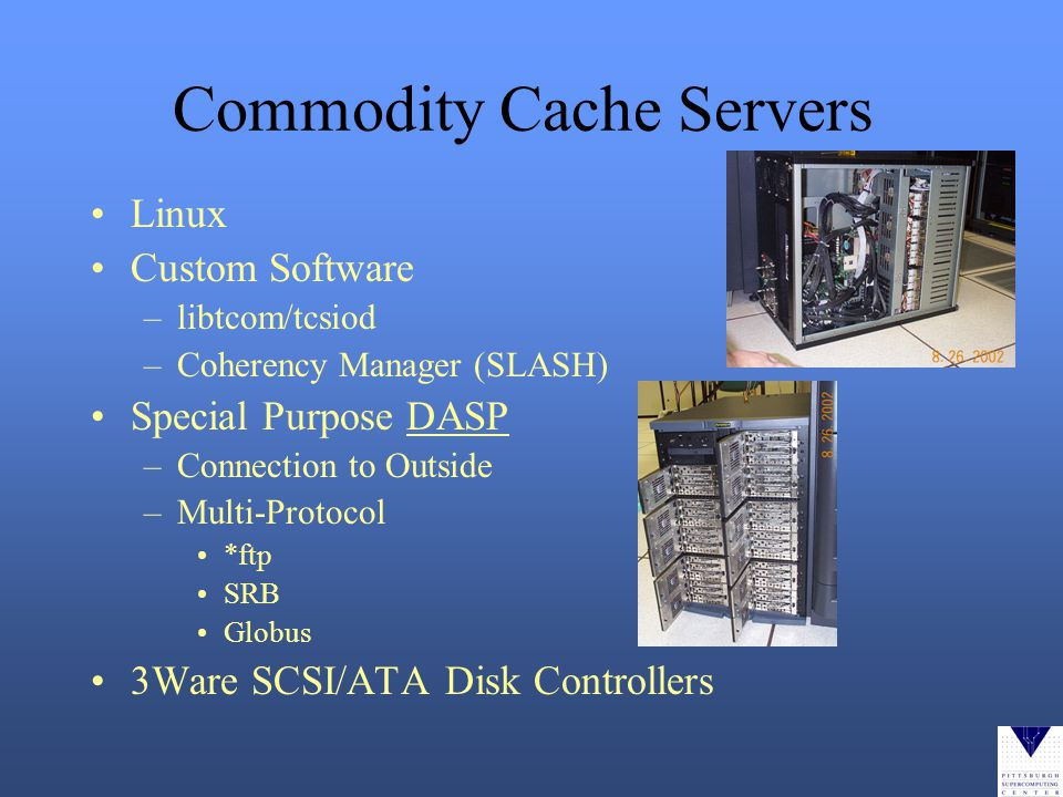 Commodity Cache Servers Linux Custom Software –libtcom/tcsiod –Coherency Manager (SLASH) Special Purpose DASP –Connection to Outside –Multi-Protocol *ftp SRB Globus 3Ware SCSI/ATA Disk Controllers