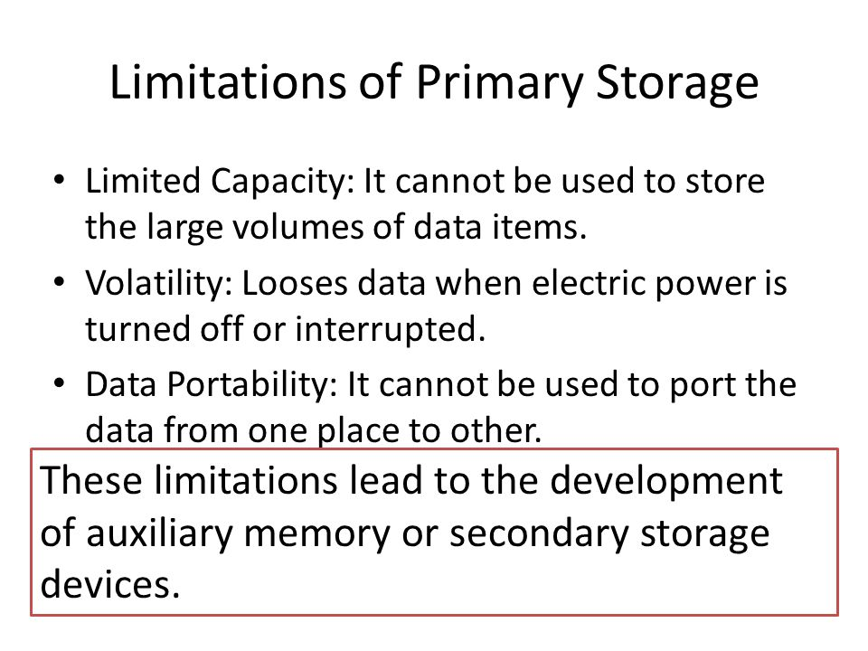 Secondary Storage Devices Sequential Access Devices Direct Access Devices Magnetic Tape Magnetic Disk Optical Disk Hard Disk Floppy Disk CD-ROMWORM Disk ZIP Disk Disk Pack Winchester Disk